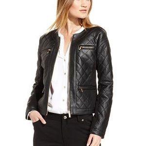 Calvin Klein Black Quilted Leather Zip Jacket